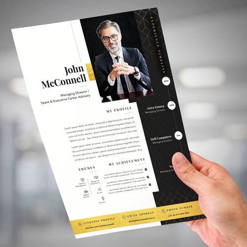 Design A Compelling, Contemporary, High-End, One Page Networking CV Template