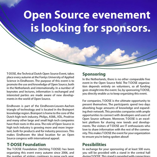 Clean and professional poster for an open source event