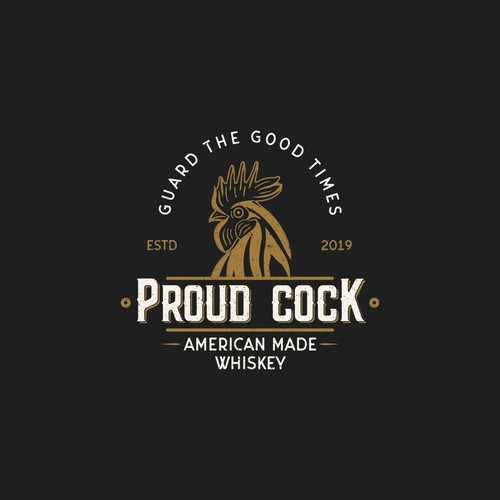 """Logo for a Whiskey brand named """"Proud Cock"""""""
