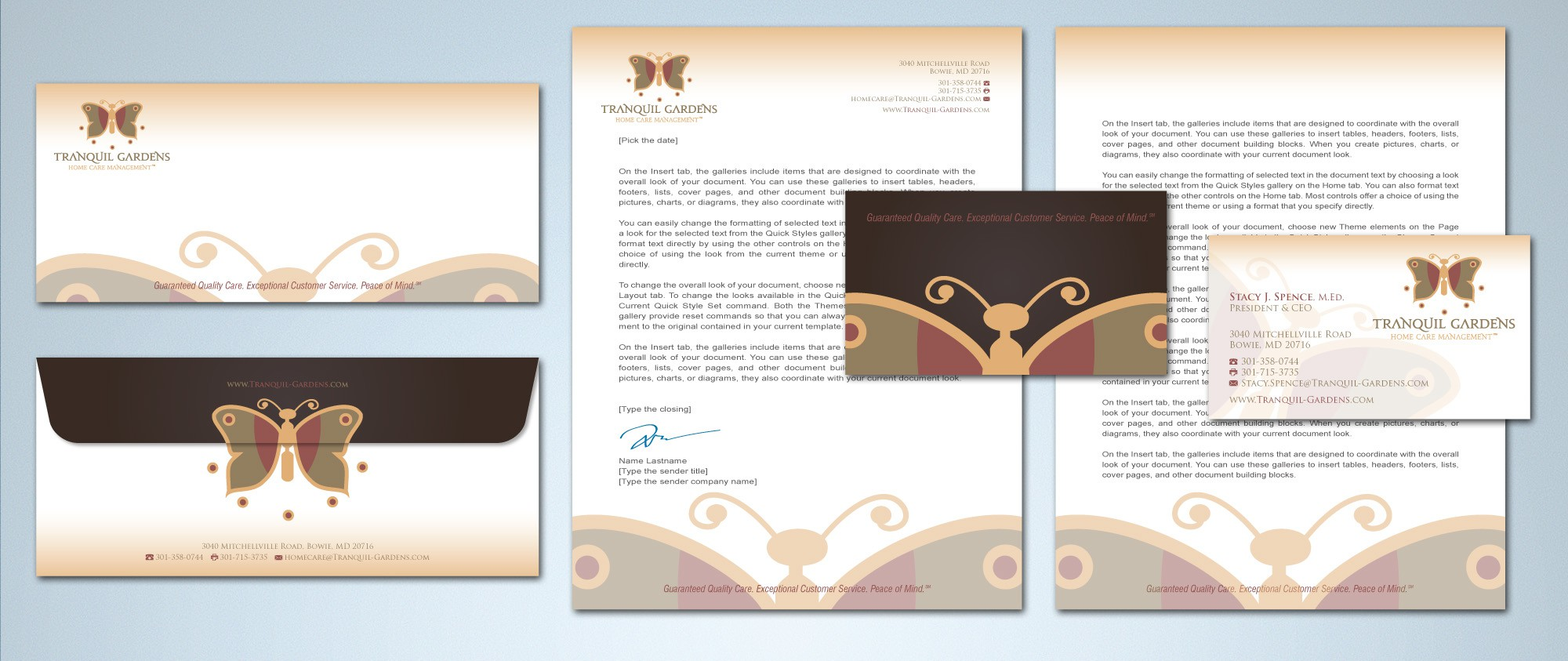 Help Tranquil Gardens Home Care Management with a new stationery