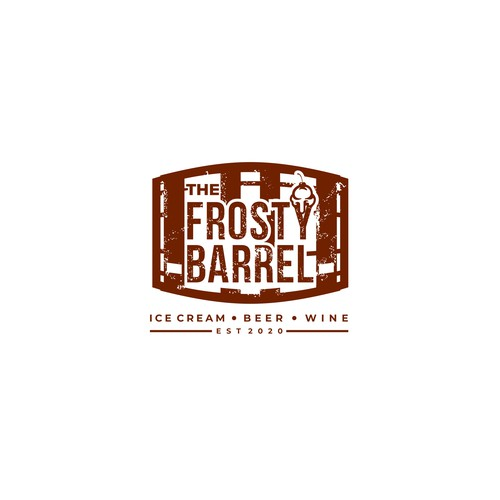 Rustic logo concepr for a wine bar that also serve ice cream