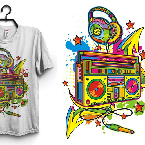 Boom box, creative patterns/colors maybe graffiti, trendy.