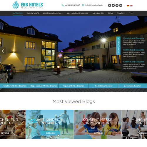 Web Design for ERB Hotels - Restaurants & Spa
