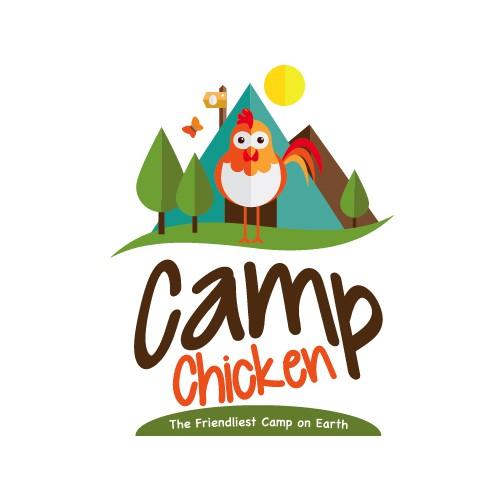 """""""CAMP CHICKEN"""" - fun summer camp logo!"""