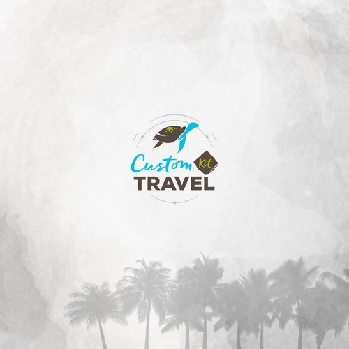 Adventurous travel logo for Custom Kit Travel