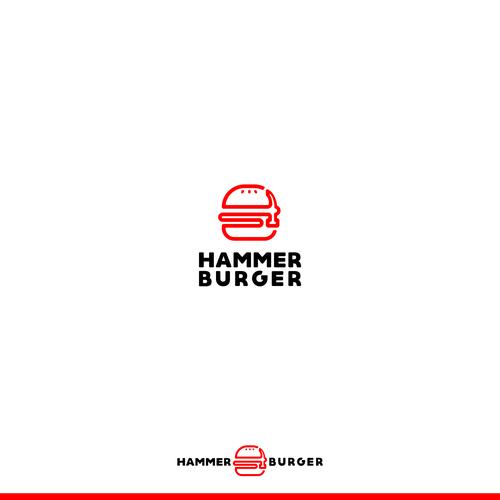 bold logo concept hammer burger