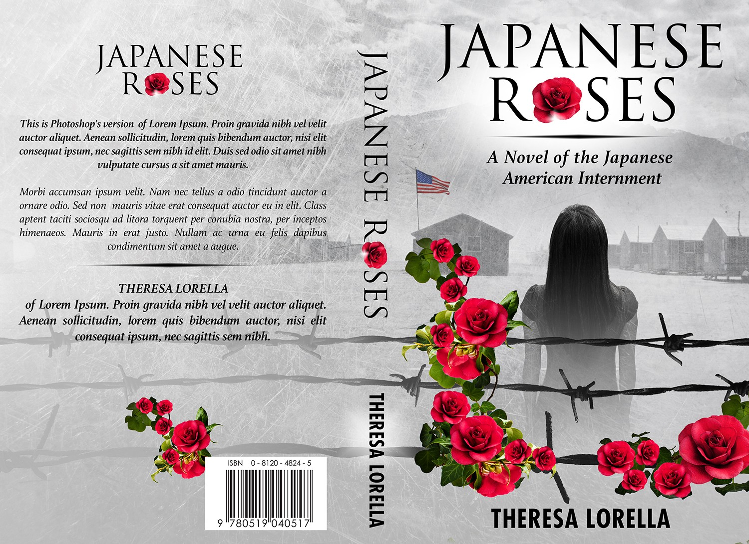 Create the next book or magazine cover for Japanese Roses by Theresa Lorella