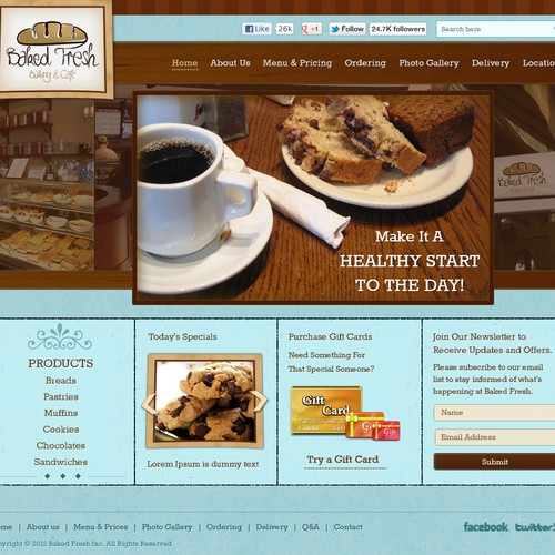 Create the next website design for Baked Fresh, Inc.