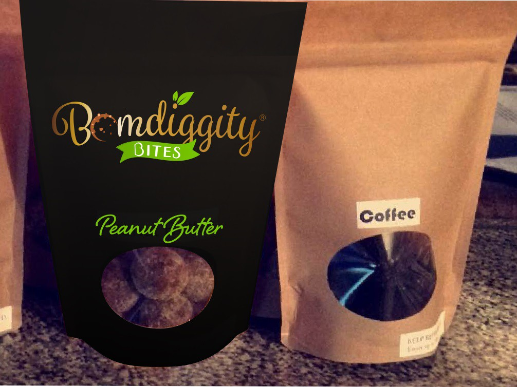 Create a Bomdiggity logo for my DELICIOUS organic and gluten free protein bites!