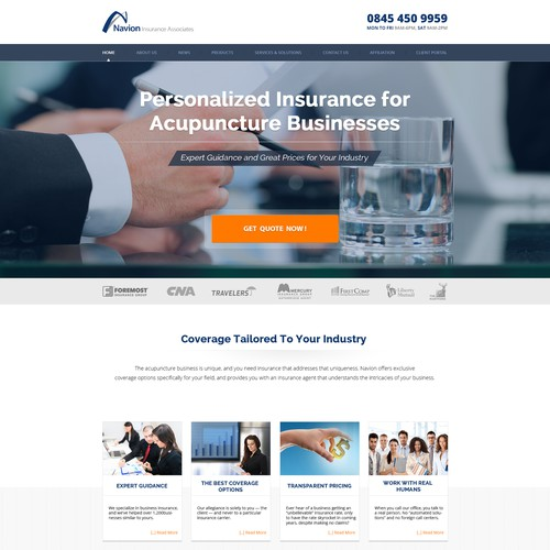 Landing Page for Navion Insurance Associates