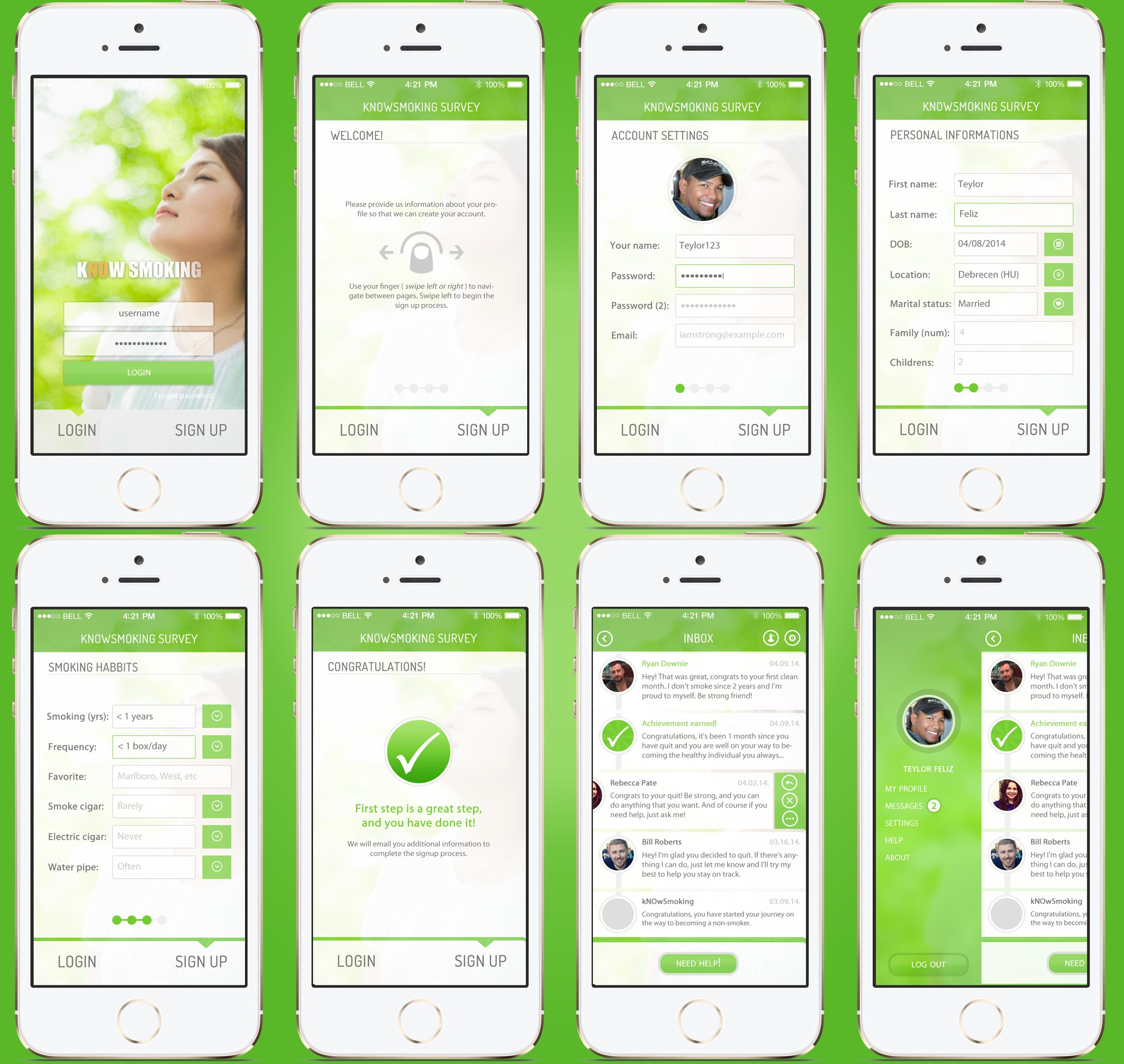 Create an engaging & motivating mobile app screen for kNOwSmoking