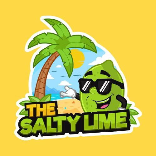 Cool Lime Cartoon Beach House logo
