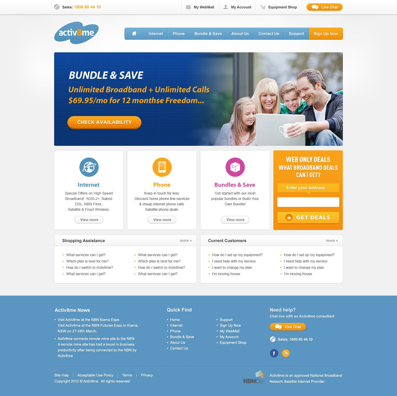 Activ8me Broadband needs a website redesign [2 pages]