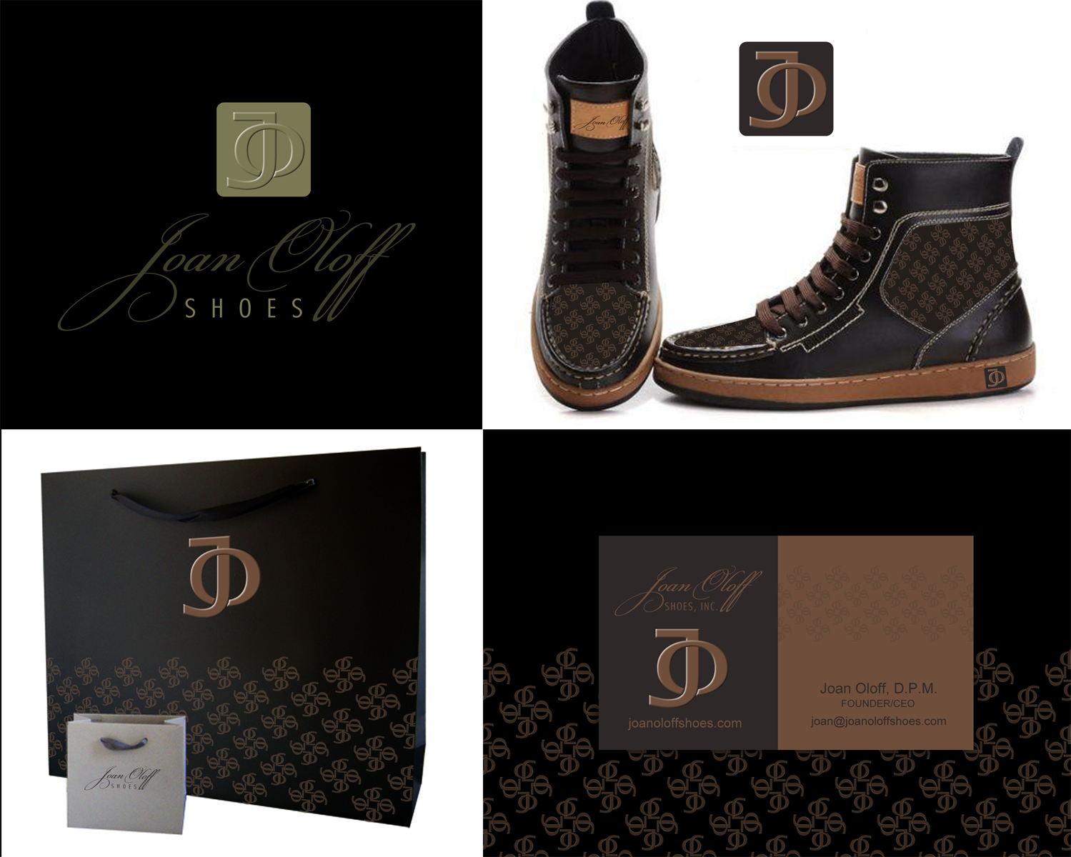 Create the next logo and business card for Joan Oloff Shoes
