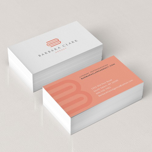 Create an upscale logo and business card for a literary agent