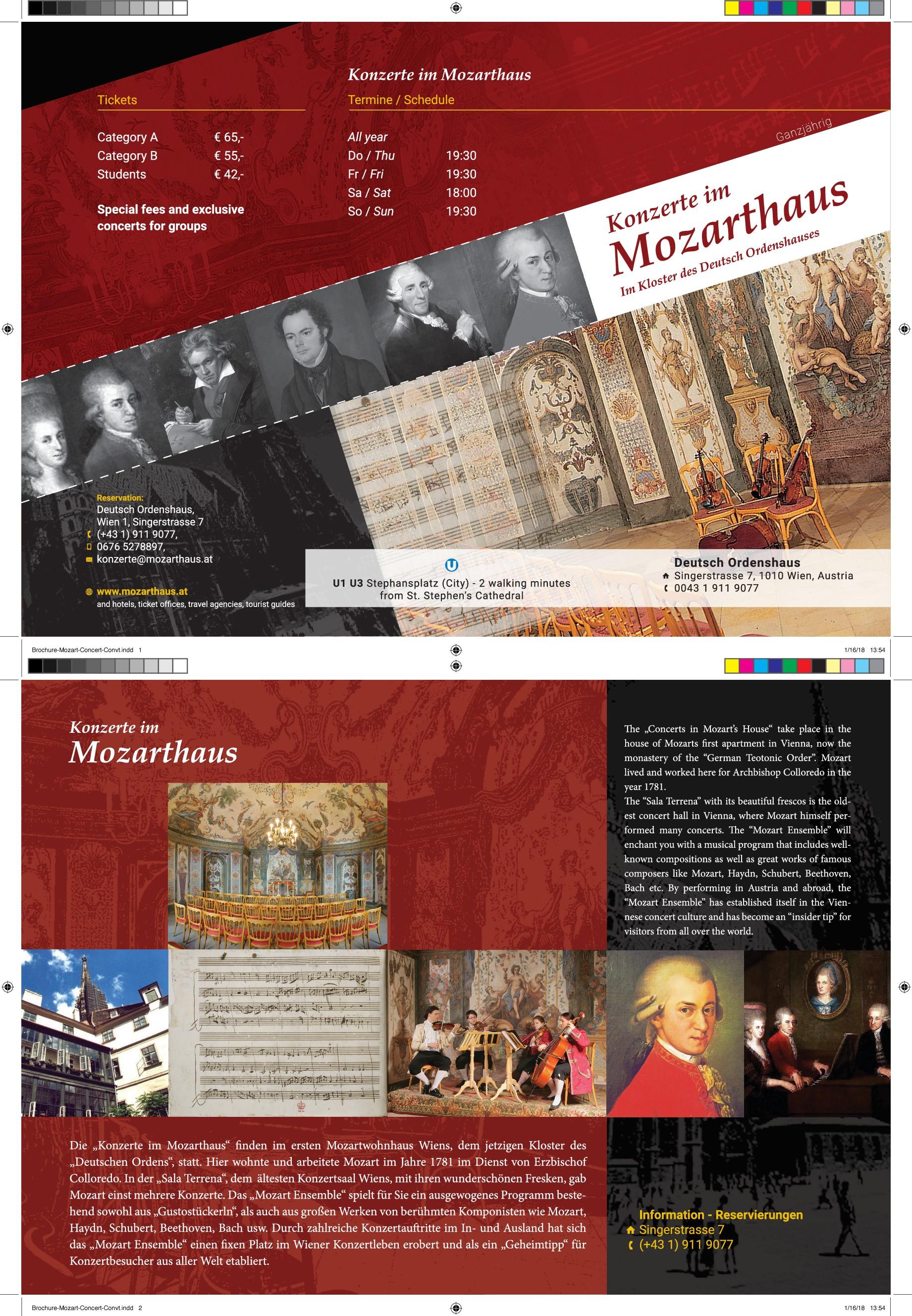 Klassisches Konzert in Wien braucht schöne Broschüre für Ihre Gäste