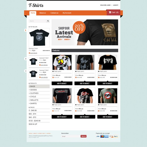 E-commerce Design for T-shirts