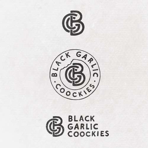 Monogram logo design for BLACK GARLIC COOCKIES