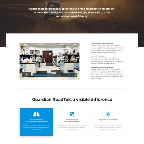 One-page, industrial website design for new product