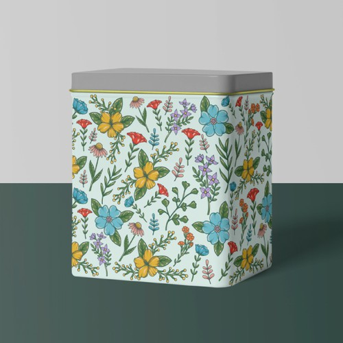 Vintage Inspired Floral Pattern for a Tin Recipe Box