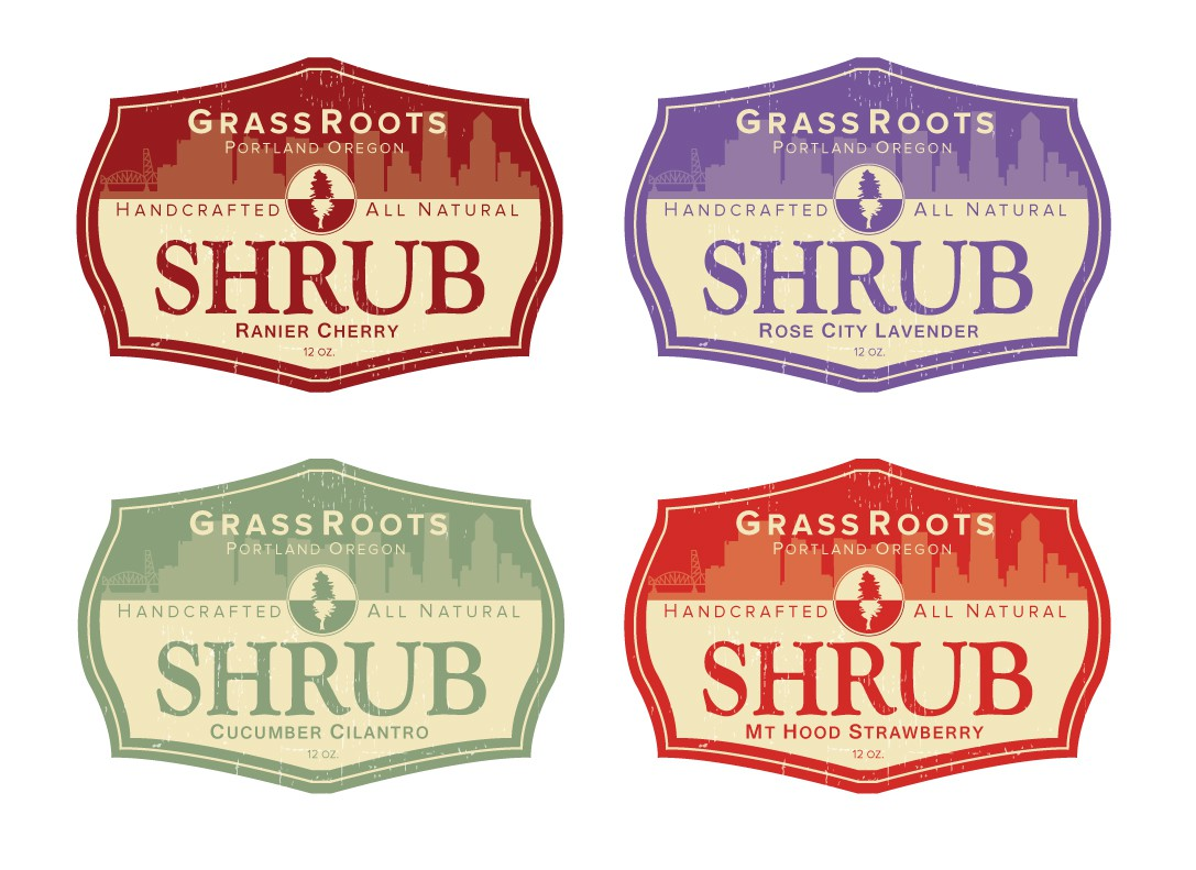 Create a logo for Grassroots Shrub, a taste of history.