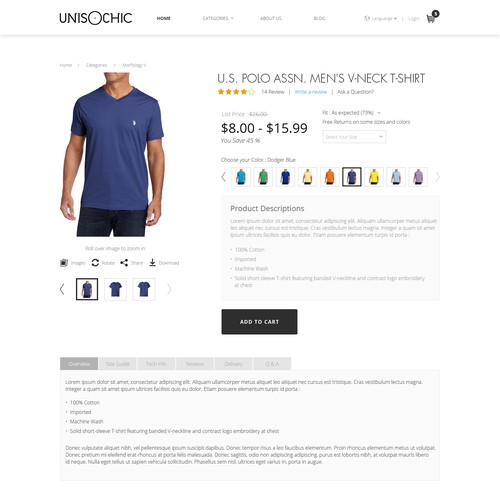 Product page design for Unisochic