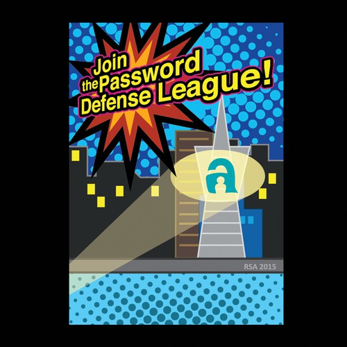 """Join the Password Defense League!"" - A comic/graphic postcard to make an awesome first impression"