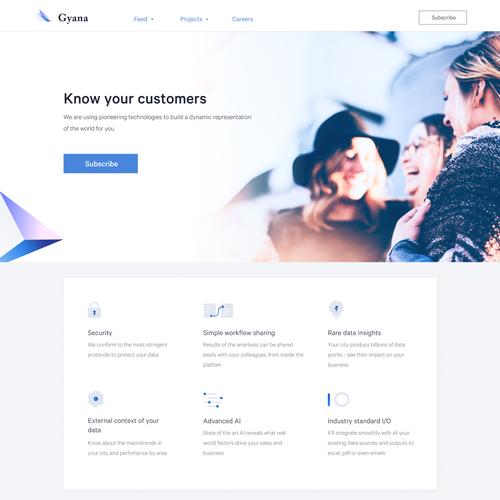 Landing page design for gyana