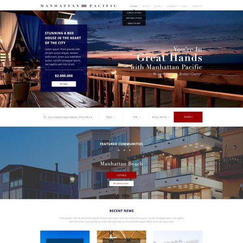 Home webpage concept for Real Estate Agency