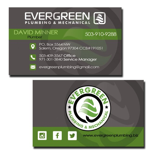 Business card concept for Evergreen