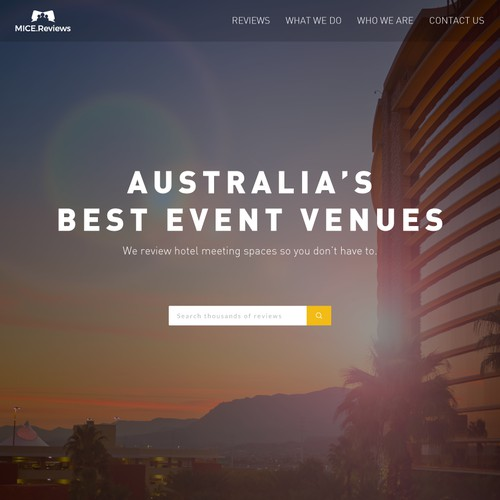 Homepage design for Hotel-review site