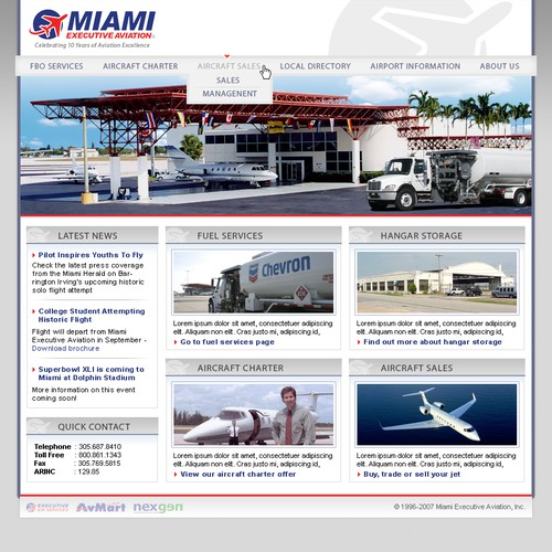 New Website Design for Corporate Aviation Website