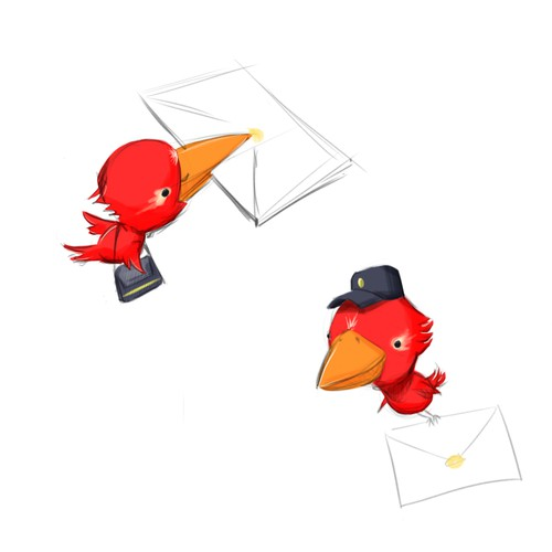 Mascot design for email software.