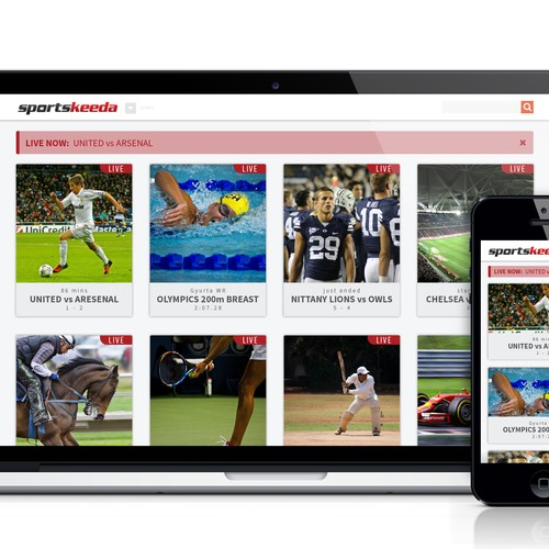 Homepage + Live content page for a popular Sports website