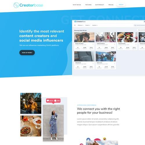 Web design for Influencer Marketing platform