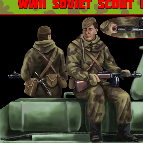 illustration for an an russia soldier sitting on a t34/85 tank ww2