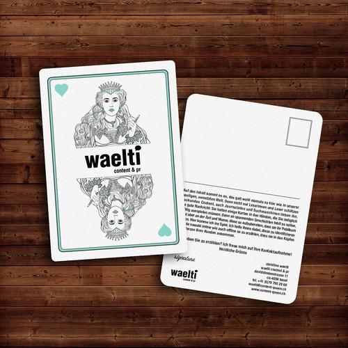 Postcard design for Waelti Content & PR