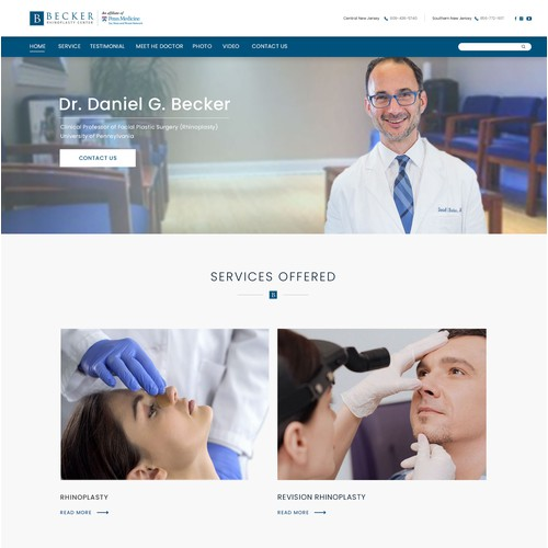 Landing page design for TheRhinoplastyCenter