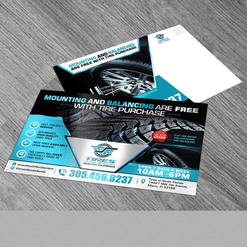 Tire Store Needs an Eye-Catching Direct Mailing Postcard To Attract New Customers