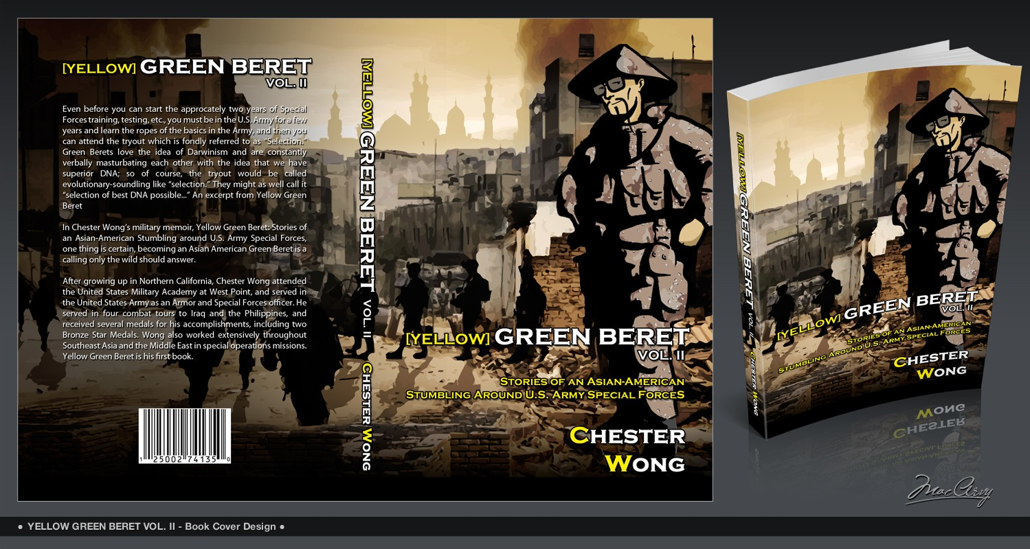 book cover graphic art design for Yellow Green Beret, Volume II