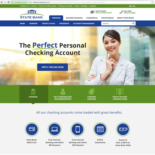 Transform our checking account LP into an effective customer acquisition tool (Design only)
