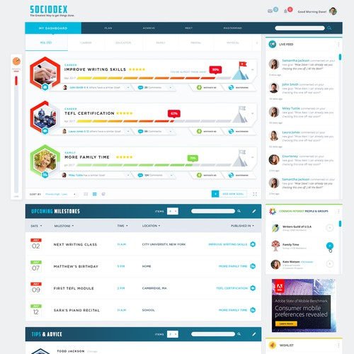 Modern Web App UI/UX Design for SocioDex - The Goal-Oriented Social Network.