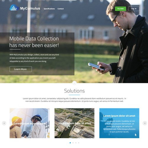 Web page design for cloud data collection app