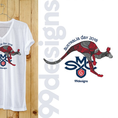 "99designs sponsored college basketball ""Australia Day"" t-shirt design"