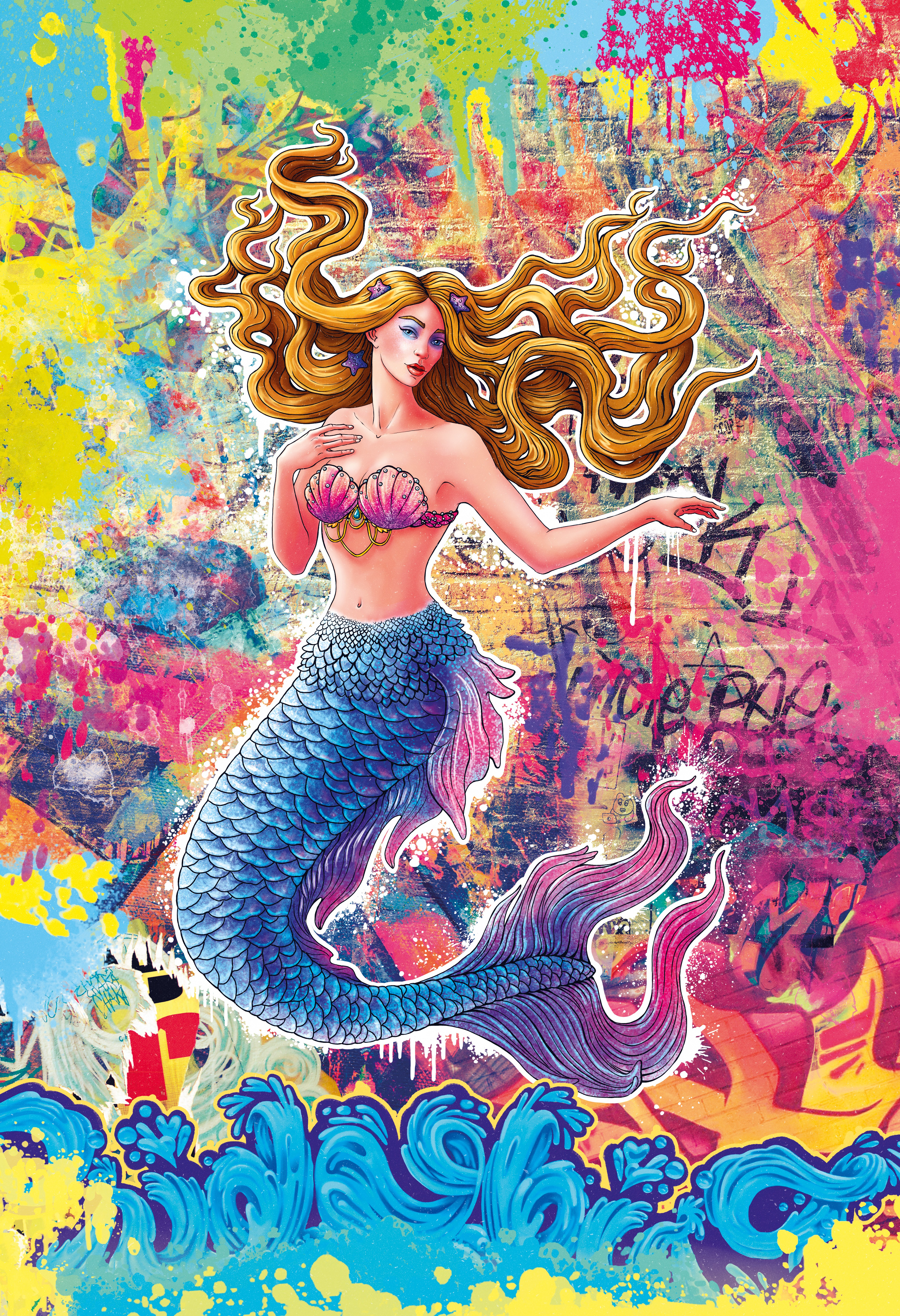 Beachy, Playful and Colorful Mermaid Illustration in a Street-Art, Graffiti or Comic Book Style