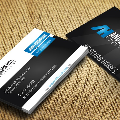 Create a great business card for a forward thinking contractor rehabbing destressed homes