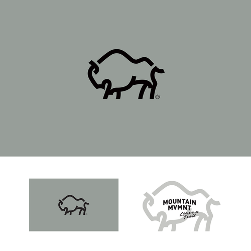 Bold logo concept with Bison, mountain and initial M