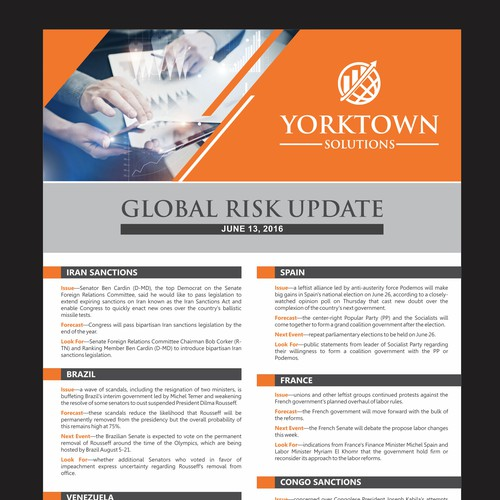 """Create """"global risk"""" email newsletter for Washington DC-based political risk firm (now blind contest)"""