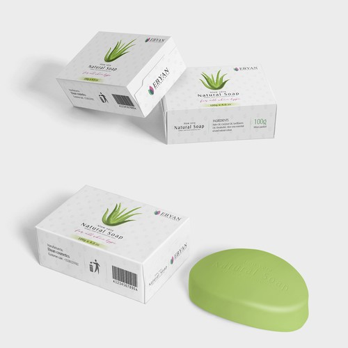a packaging design for natural soap, aloe vera soap packaging design.