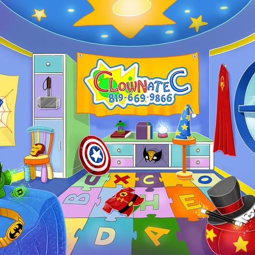 Cartoony backdrop for a kids magic show